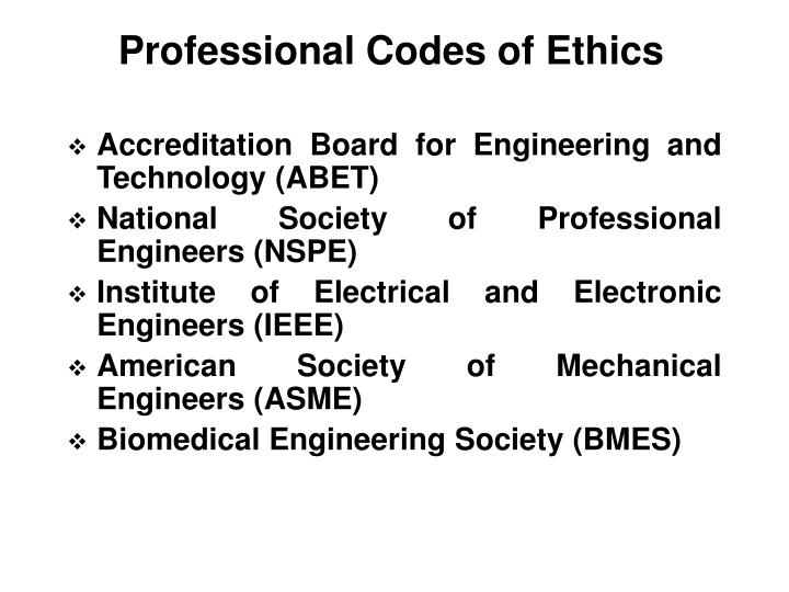 Professional Codes of Ethics