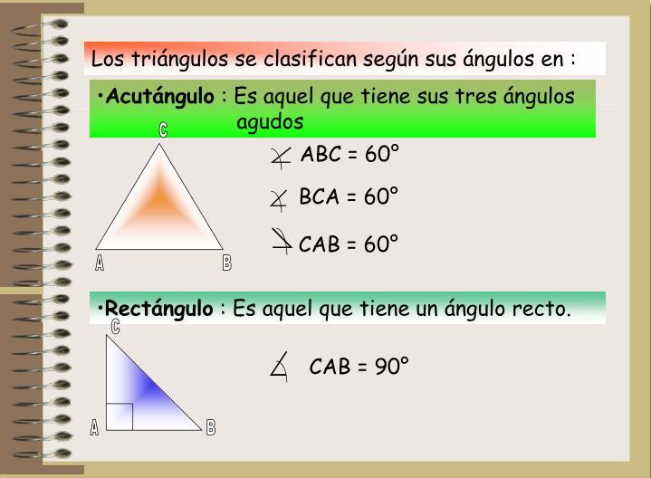 Los triángulos se clasifican según sus ángulos en :