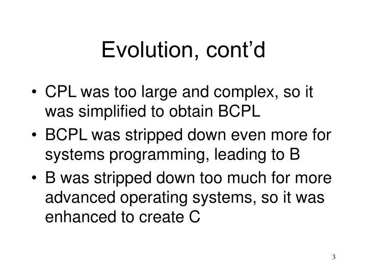 Evolution, cont'd