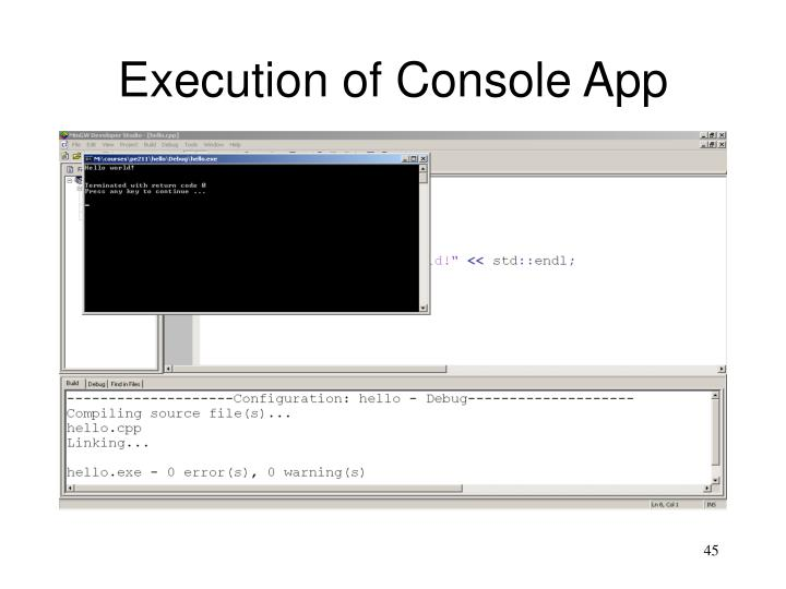 Execution of Console App