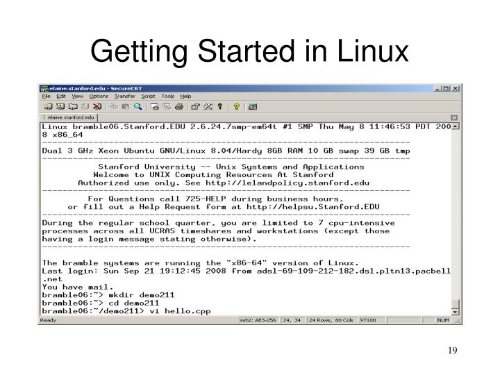 Getting Started in Linux