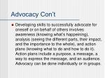 advocacy con t