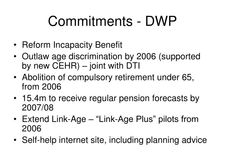 Commitments - DWP