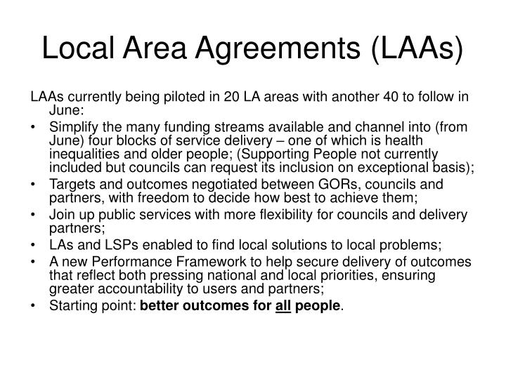 Local Area Agreements (LAAs)