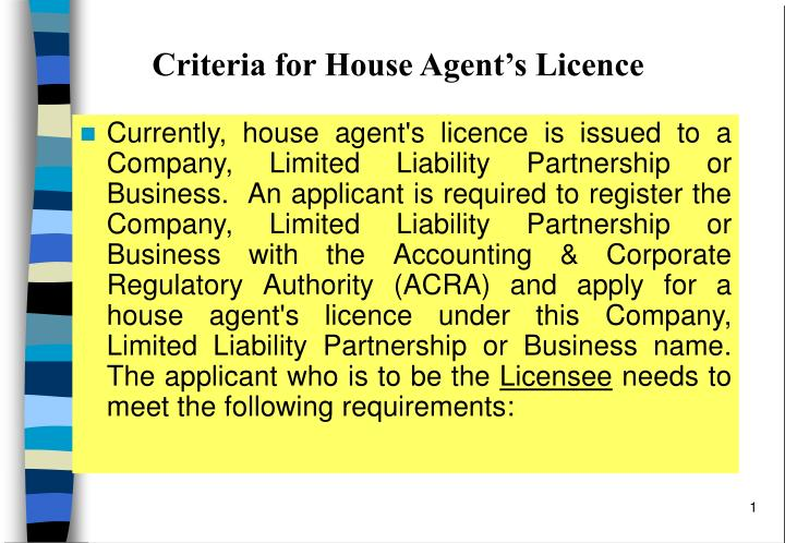 Criteria for house agent s licence