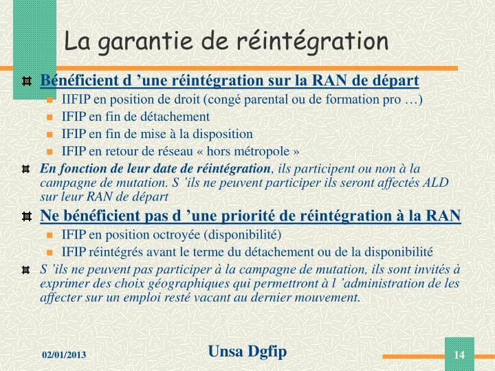 La garantie de réintégration