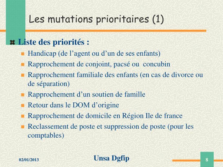 Les mutations prioritaires (1)