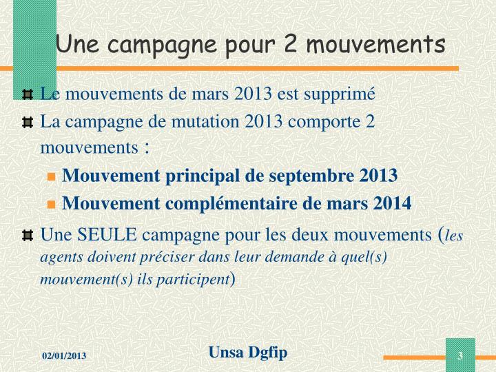 Une campagne pour 2 mouvements
