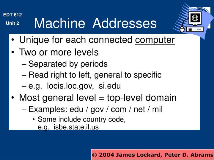 Machine  Addresses