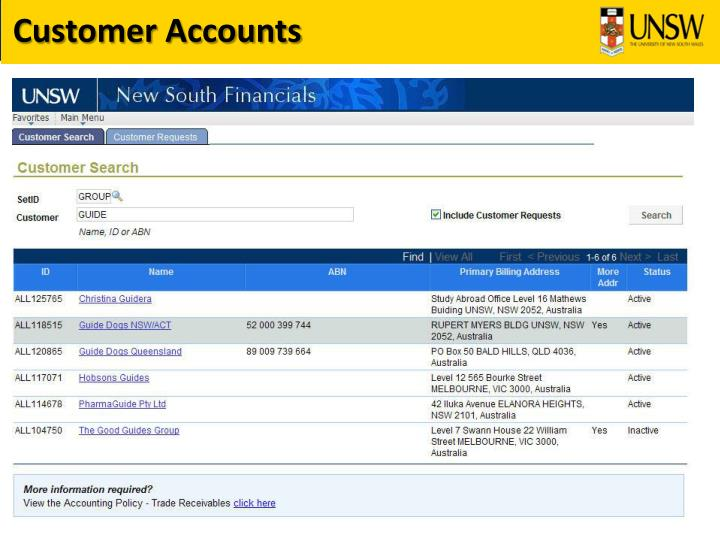 Customer Accounts