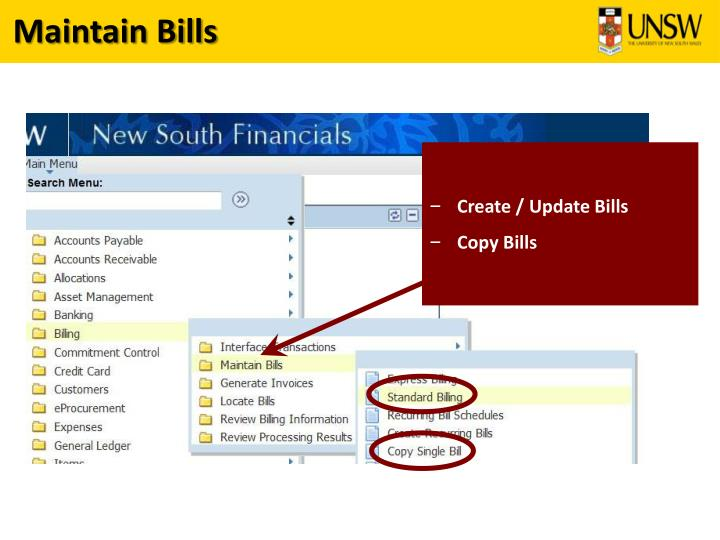 Maintain Bills