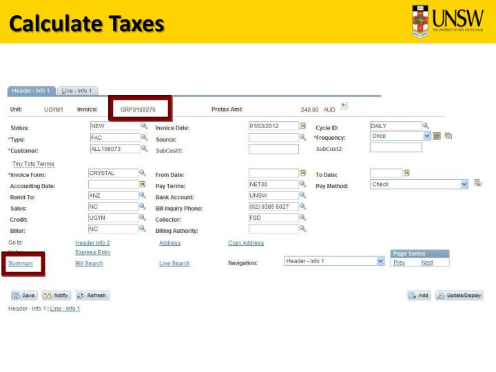Calculate Taxes