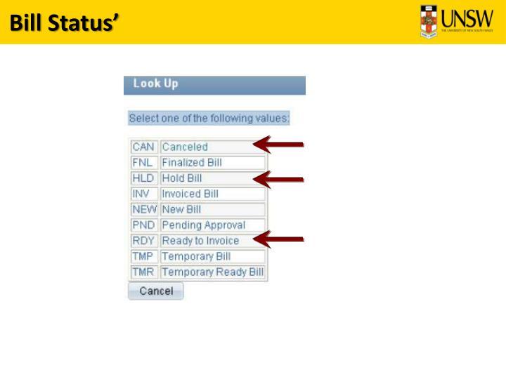 Bill Status'