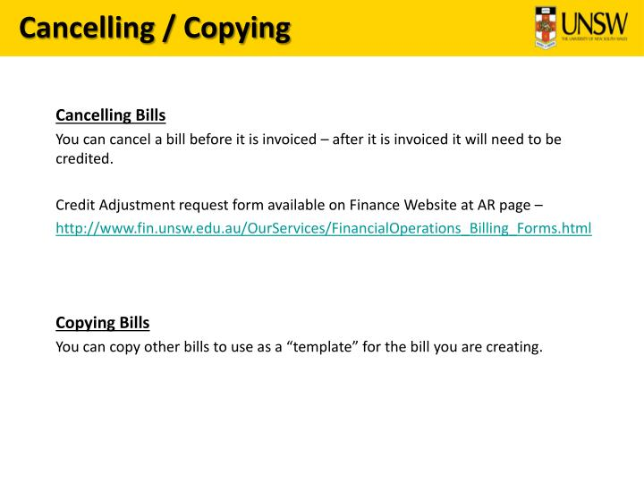 Cancelling / Copying