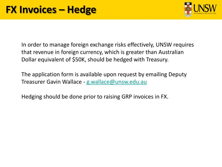 FX Invoices – Hedge