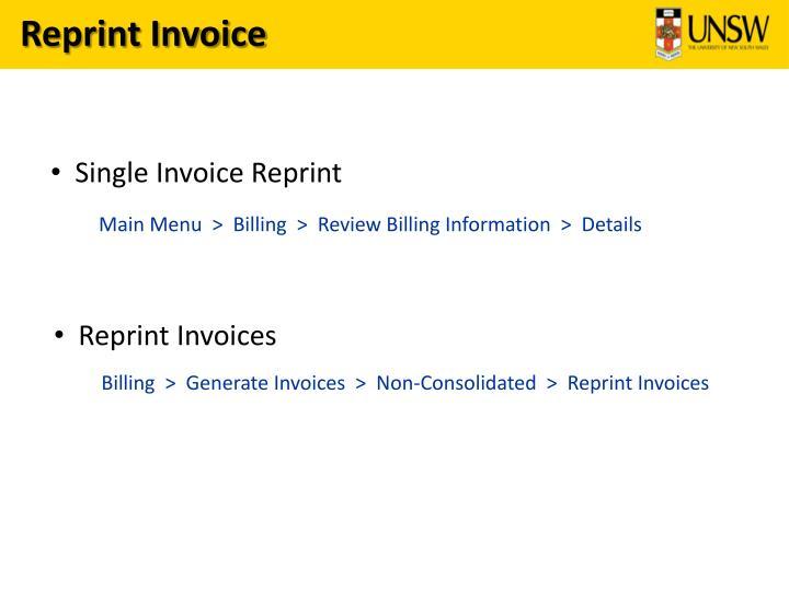 Reprint Invoice