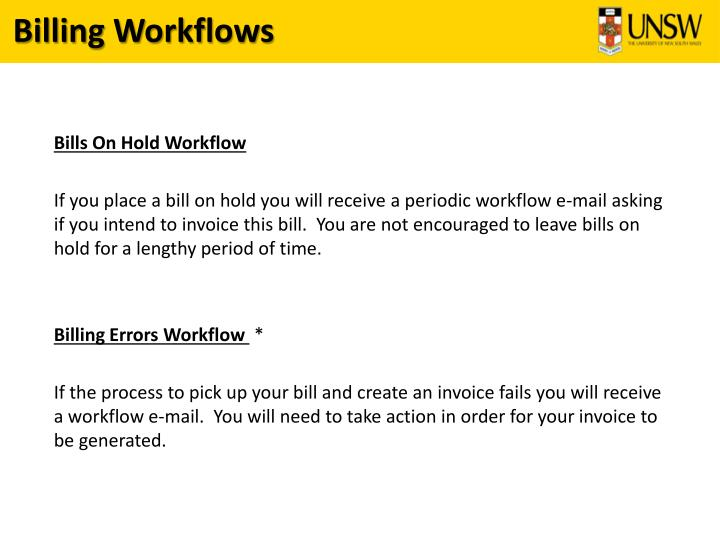 Billing Workflows