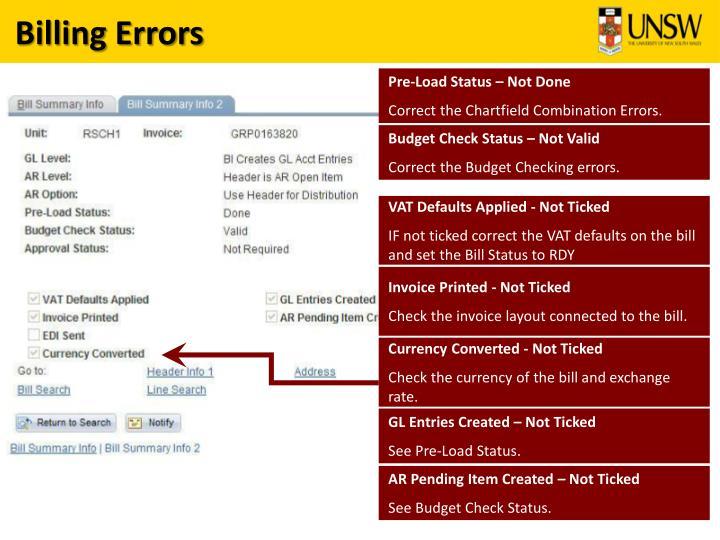Billing Errors
