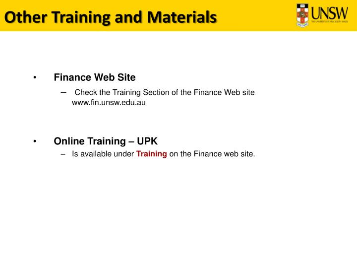 Other Training and Materials