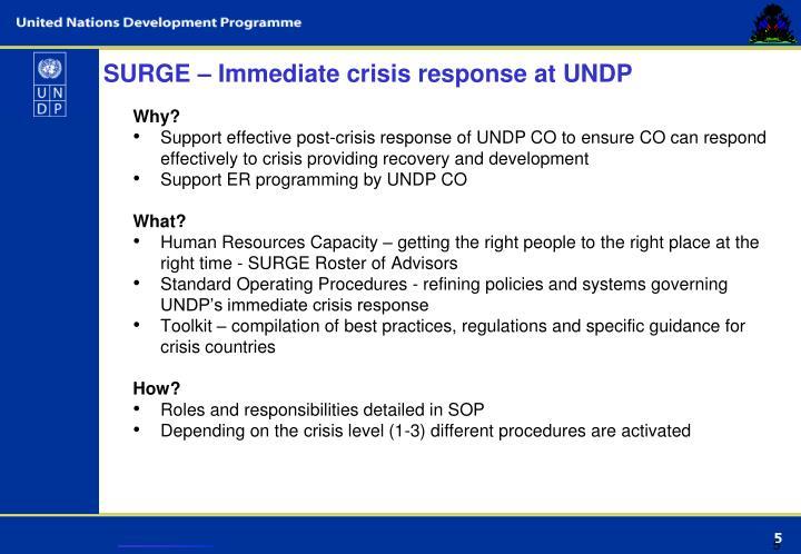 SURGE – Immediate crisis response at UNDP