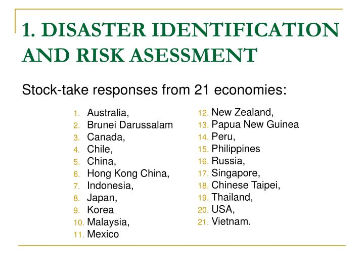 1. DISASTER IDENTIFICATION AND RISK ASESSMENT