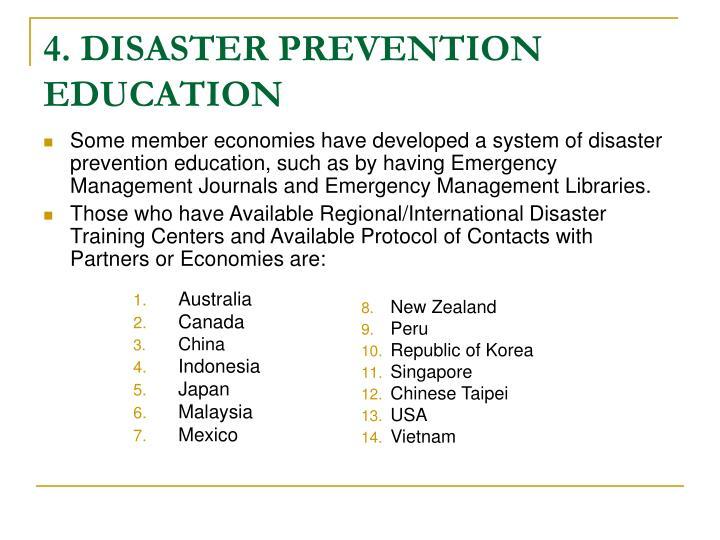 4. DISASTER PREVENTION EDUCATION