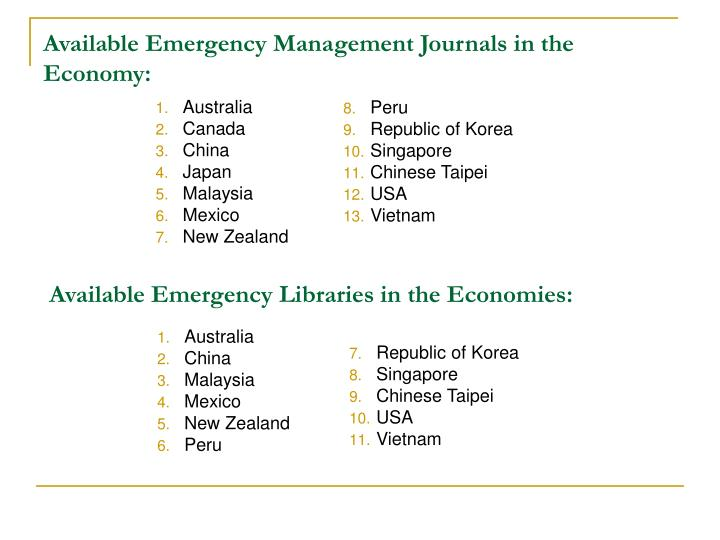 Available Emergency Management Journals in the Economy: