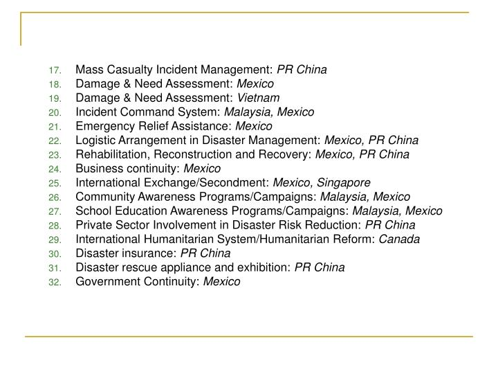 Mass Casualty Incident Management:
