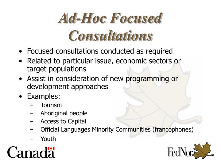 Focused consultations conducted as required
