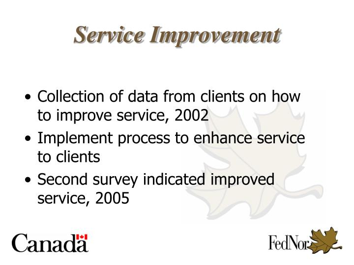 Collection of data from clients on how to improve service, 2002