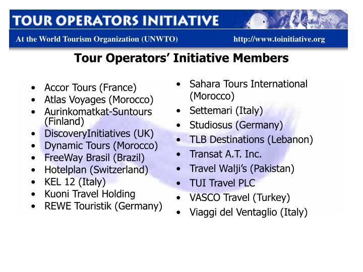 Tour Operators' Initiative Members
