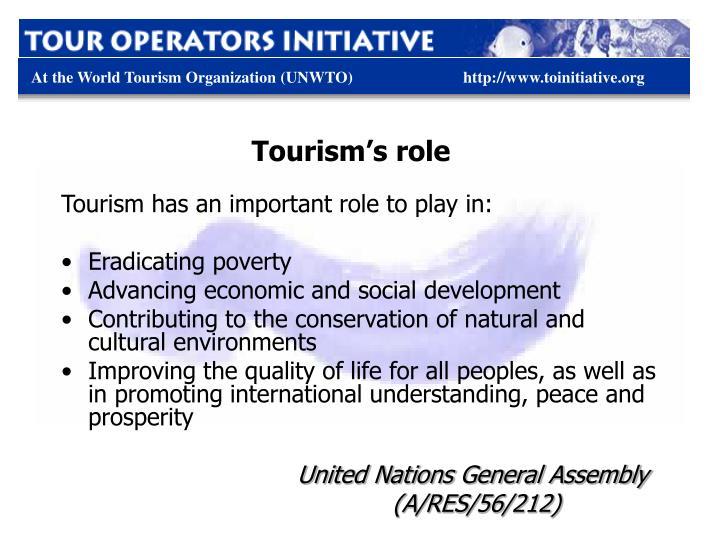 Tourism's role