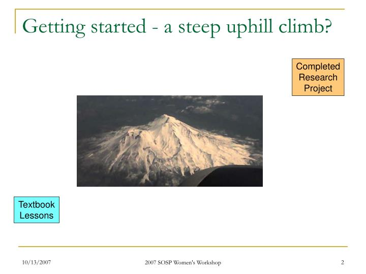 Getting started - a steep uphill climb?