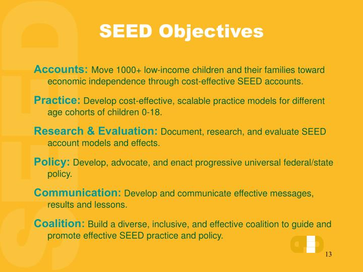 SEED Objectives
