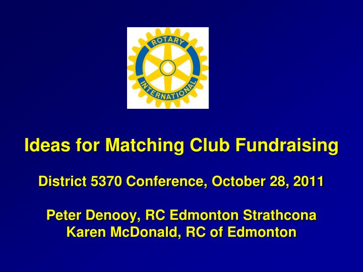Ideas for Matching Club Fundraising