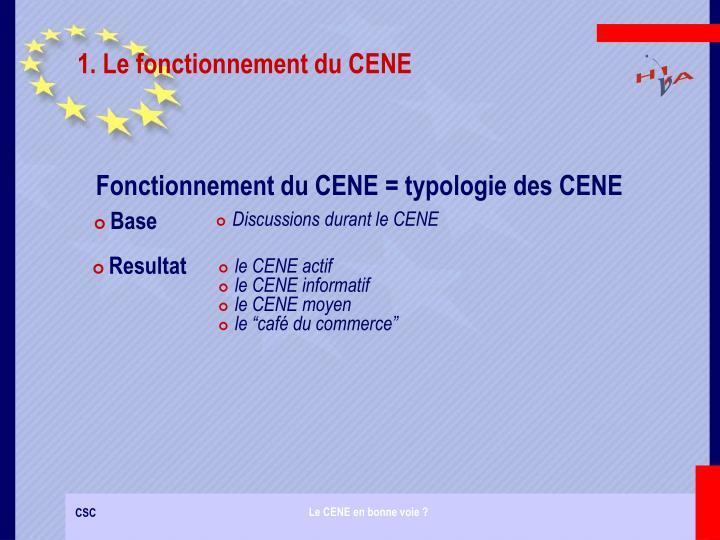 1. Le fonctionnement du CENE
