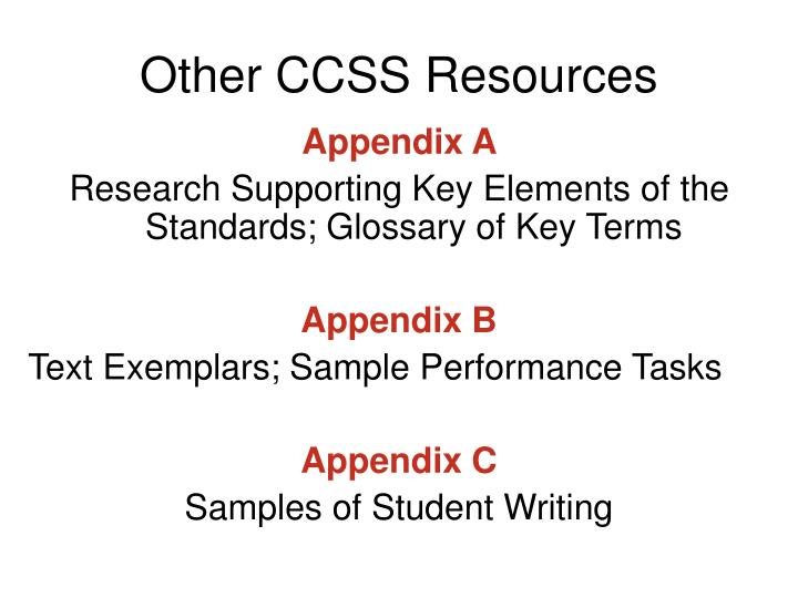 Other CCSS Resources