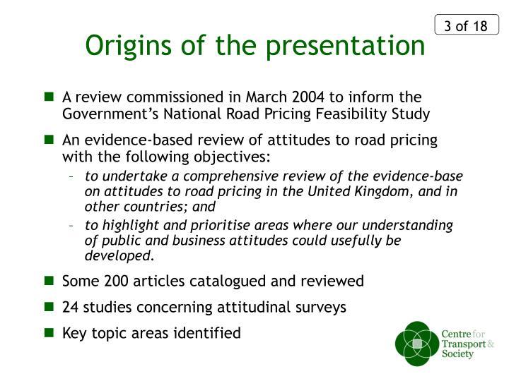 Origins of the presentation