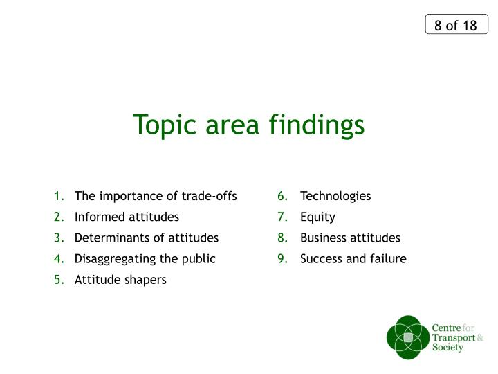 Topic area findings