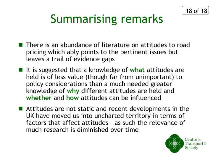 Summarising remarks