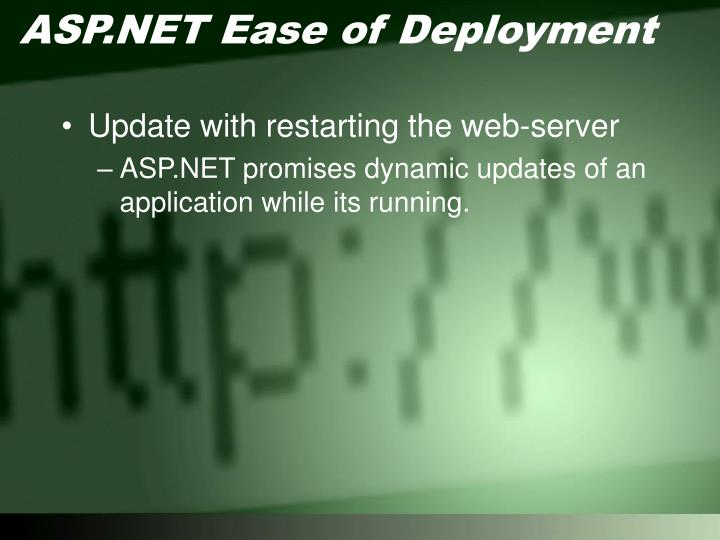 ASP.NET Ease of Deployment