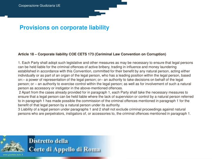 Provisions on corporate liability