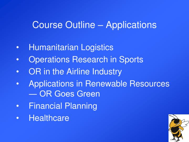Course Outline – Applications