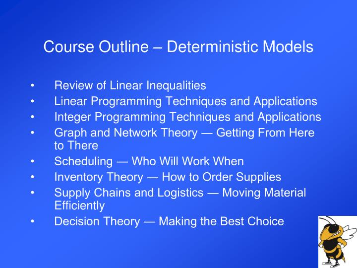 Course Outline – Deterministic Models