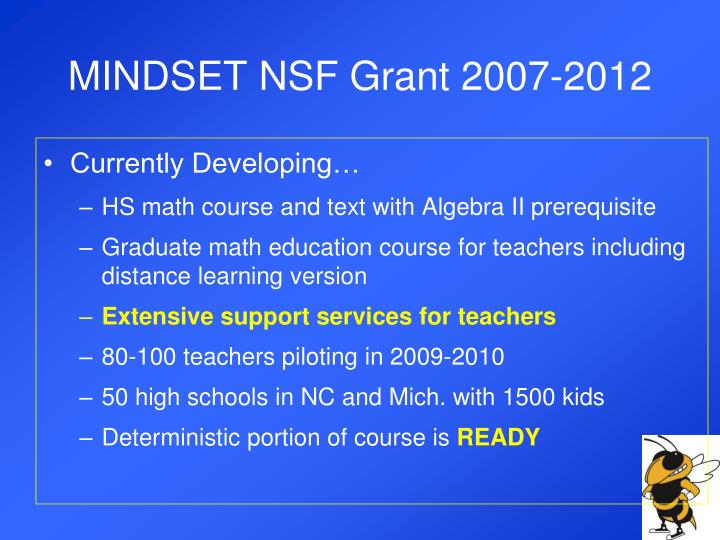 MINDSET NSF Grant 2007-2012