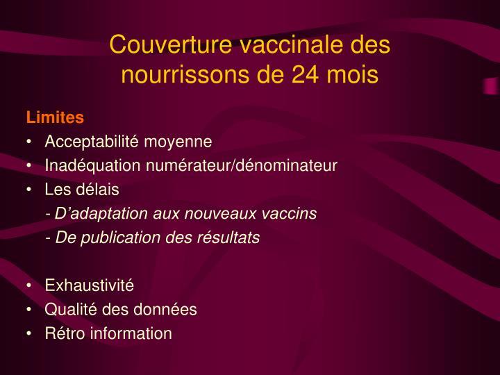 Couverture vaccinale des nourrissons de 24 mois