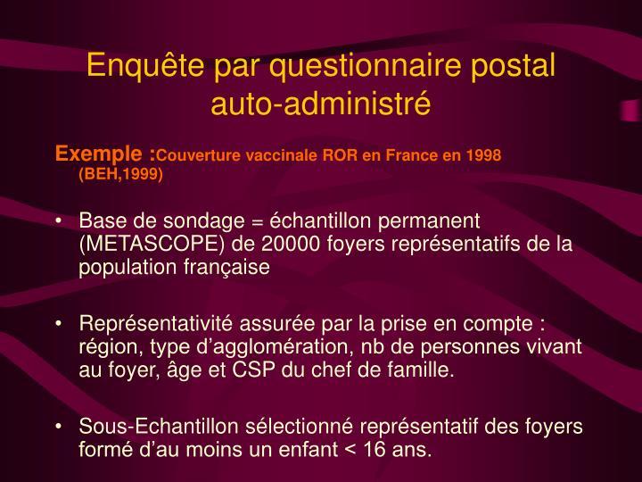Enquête par questionnaire postal auto-administré