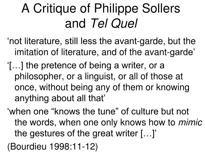 A Critique of Philippe Sollers and