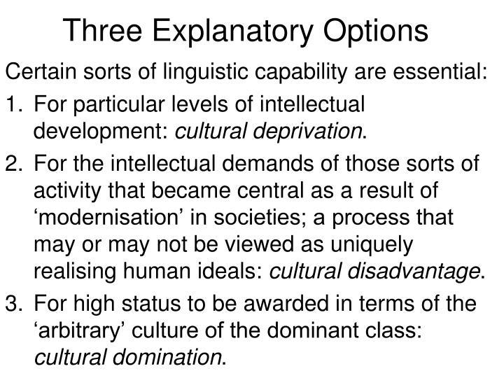 Three Explanatory Options