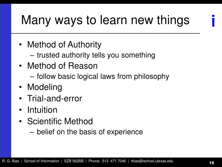 Many ways to learn new things